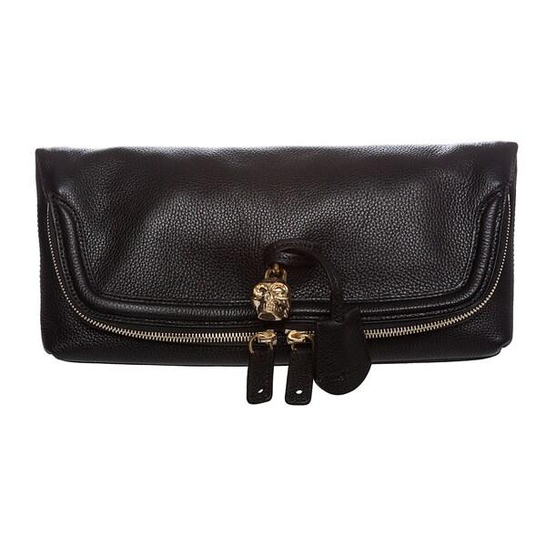 Alexander McQueen Black Grainy Leather Skull Padlock Clutch