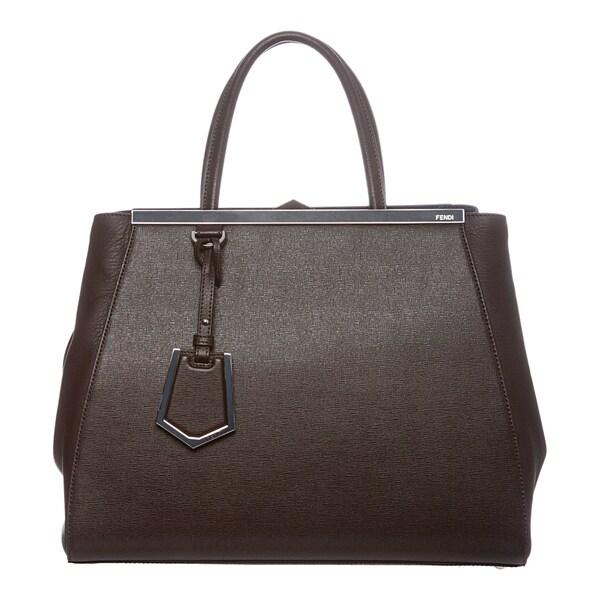 Fendi '2Jours' Medium Brown/ Blue Colorblocked Leather Shopper