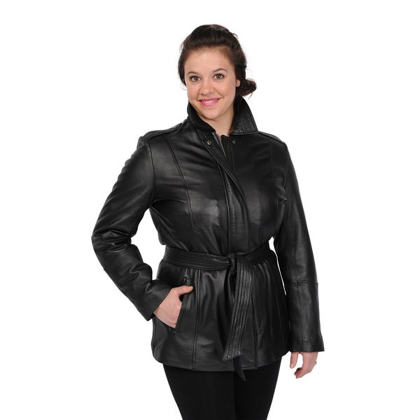 Excelled Women's Black Lambskin Leather Hipster Jacket ...