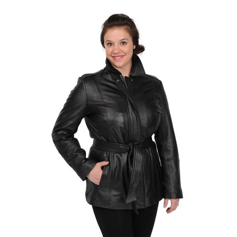 Excelled Women's Black Lambskin Leather Hipster Jacket