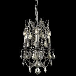 Somette Lugano 3-light Crystal and Pewter Chandelier