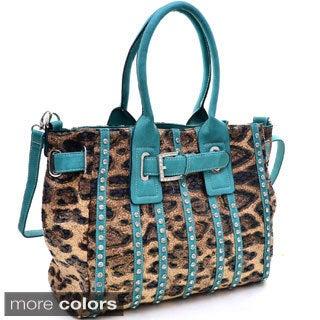 Belted Leopard Print Fashion Tote Bag