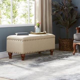 Tan Upholstered Storage Bench with Nailhead Trim by HomePop