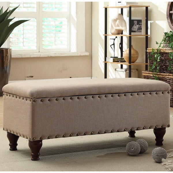Upholstered Storage Bench With Nailhead Trim By Homepop - Free