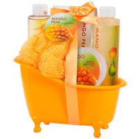 Tropical Mango Pears Bath Tub Basket Spa Gift Set, Bubble Bath, Body Lotion & More