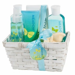 Meadow Bath Gift Set in Wicker White Basket