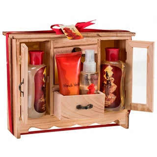 Freida and Joe French Vanilla Spa Bath 5-piece Gift Set in Natural Wood Curio