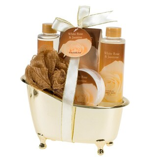 Bath & Body Spa Gift Basket for Women White Rose Jasmine Fragrance, Includes Shower Gel, Bubble Bath, Bath Salts & More