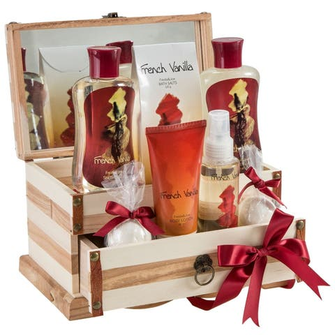 Freida and Joe French Vanilla Bath and Body 7-piece Gift Set in Wooden Jewelry Box