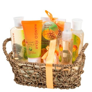 Rustic Beauty Mango-Pear Gift Set for Women, Collection of Shower Gel Bubble Bath Bath Salt Body Lotion Body Spray & Bath Fizzer