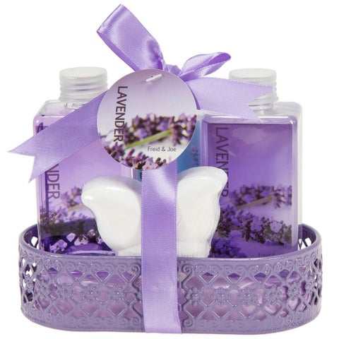 Lavender Bath Basket with Shower Gel, Bubble Bath, Body Lotion, Bath Bomb Fizzer