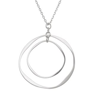 Gioelli Sterling Silver Artisan Double Open Circle Necklace