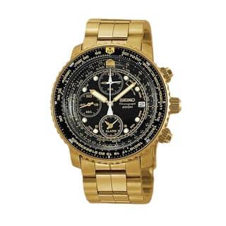 Seiko Men's SNA414P1 'Flightmaster Pilot' Gold-tone Chronograph 200 Meter Watch (Option: Gold) https://ak1.ostkcdn.com/images/products/8486823/P15774580.jpg?impolicy=medium
