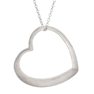 Gioelli Sterling Silver Satin Finish Open Heart Necklace