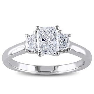 Miadora Signature Collection 14k White Gold 1 1/10ct TDW IGL-certified Radiant Cut Diamond Ring (D-E, SI1-SI2)