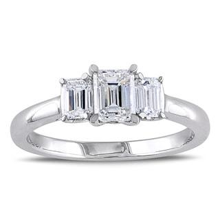 Miadora Signature Collection 14k White Gold 1ct TDW Emerald Cut Three Stone Diamond Ring