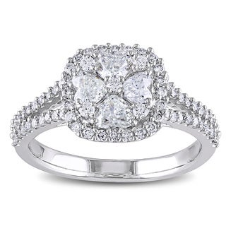 Miadora Signature Collection 14k White Gold 1 1/10ct TDW Diamond Hearts Halo Engagement Ring (G-H, I1-I2)