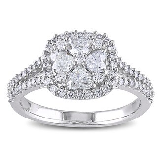 Miadora Signature Collection 14k White Gold 1 1/10ct TDW Diamond Hearts Halo Engagement Ring