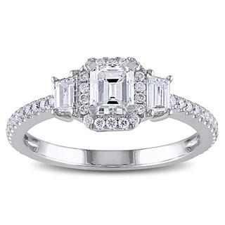Miadora Signature Collection 14k White Gold 1 1/5ct TDW Emerald Cut Diamond Ring
