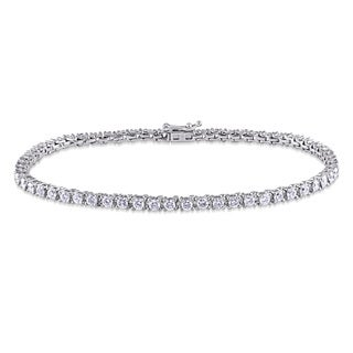 Miadora 14k White Gold 3ct TDW Diamond Tennis Bracelet