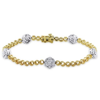 Miadora Signature Collection 14k Gold 2 1/2ct TDW Two Tone Station Diamond Bracelet (G-H, SI1-SI2)
