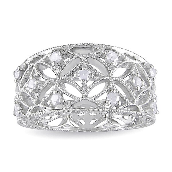 Miadora Sterling Silver 1/4ct TDW Diamond Band-style Ring (H-I, I2-I3)