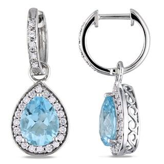 Miadora 14k White Gold Blue Topaz and 1/2ct TDW Diamond Earrings (G-H, I1-I2)