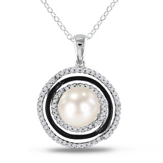 Miadora Sterling Silver Pearl and 1/4ct TDW Diamond Halo Necklace (I-J, I2-I3) (8-8.5 mm)