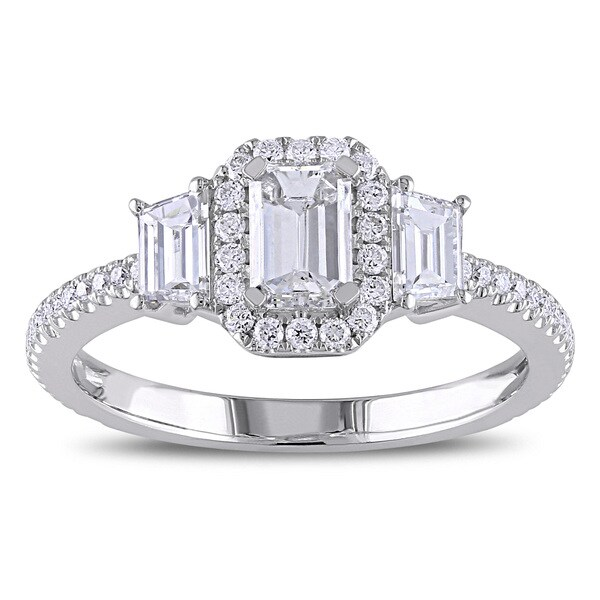 Miadora Signature Collection 14k White Gold 1 1/4ct TDW Emerald Trapezoid Diamond Ring (D-E, I1-I2)