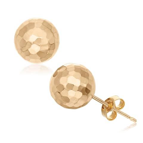 Gioelli 14k Gold 8-mm Hammered Ball Earrings