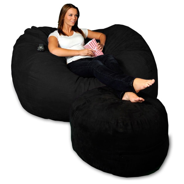 Shop 5 Foot Memory Foam Micro Suede Beanbag Chair Lounger