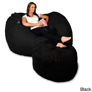5-foot Memory Foam Micro Suede Beanbag Chair Lounger (Option: Black Micro Suede)