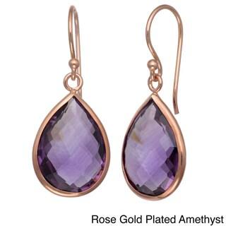 Gioelli Silver 18ct TGW Gemstone Teardrop Briolette Earrings