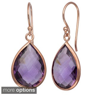 Gioelli Silver 18ct TGW Gemstone Teardrop Briolette Earrings
