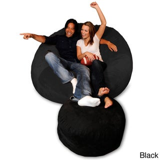 6-foot Memory Foam Bean Bag Chair (Black Micro Suede - Jumbo)