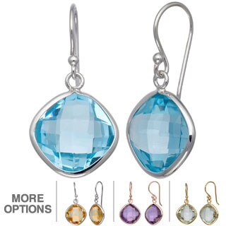 Gioelli Silver 13 3/4ct TGW Gemstone Cushion Briolette Earrings