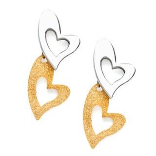 Alexa Starr Stainless Steel Double Heart Post Earrings