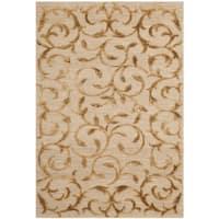 Safavieh Hand-knotted Tibetan Scrolling Vines Gold Wool/ Silk Rug (3' x 5') - 3' x 5'