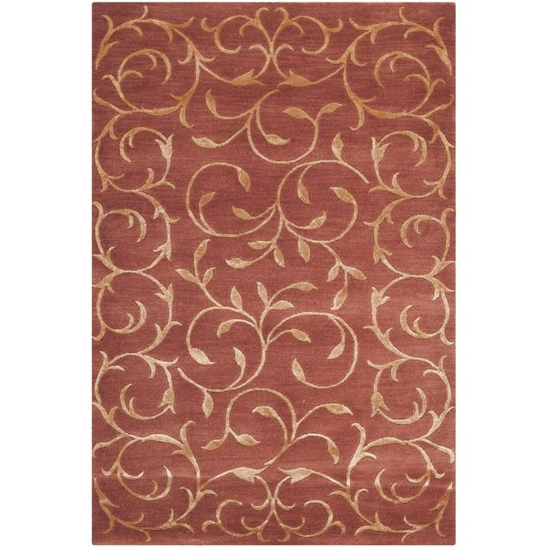 Safavieh Hand-knotted Tibetan Scrolling Vines Rust/ Gold Wool/ Silk Rug (2' x 3')