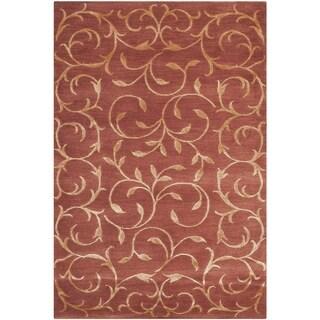 Safavieh Hand-knotted Tibetan Scrolling Vines Rust/ Gold Wool/ Silk Rug (2' x 3')