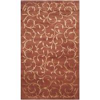 Safavieh Hand-knotted Tibetan Scrolling Vines Rust/ Gold Wool/ Silk Rug - 3' x 5'