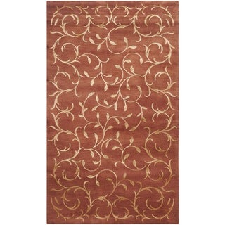 Safavieh Hand-knotted Tibetan Scrolling Vines Rust/ Gold Wool/ Silk Rug (4' x 6')