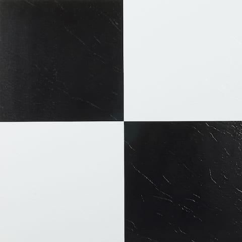 Achim Nexus Black & White 12x12 Self Adhesive Vinyl Floor Tile - 20 Tiles/20 sq. ft.