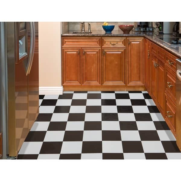 Achim Nexus Black White 12x12 Self Adhesive Vinyl Floor Tile 20 Tiles Sq Ft