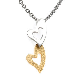 Alexa Starr Stainless Steel Chain Necklace with Double Heart Pendant