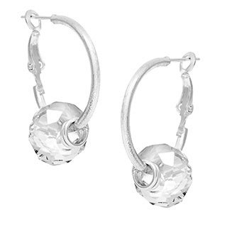 Alexa Starr Goldtone or Silvertone Faceted Glass Bead Hoop Earrings