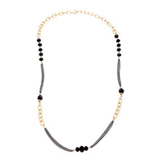Alexa Starr Goldtone and Black Glass and Rhinestone Necklace