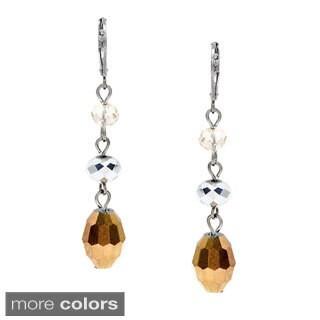 Silvertone Metallic Glass Bead Earrings