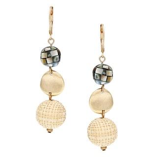 Alexa Starr Goldtone Mosaic Created Shell Triple Drop Earrings