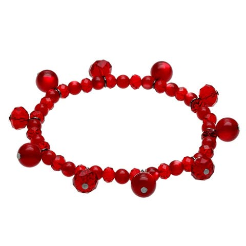 Red Faceted Glass and Catseye Bead Bracelet